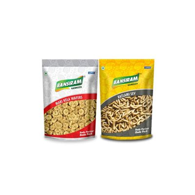Bansiram MARI KELA WAFERS AND RATLAMI SEV (2 x 400 g)